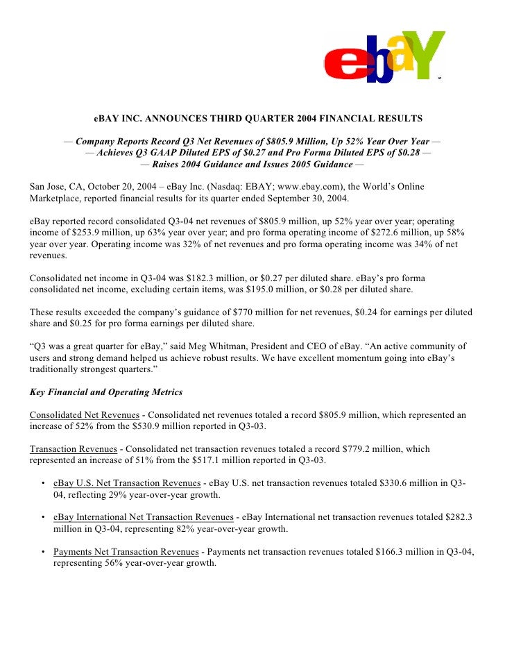 eBAY INC. ANNOUNCES THIRD QUARTER 2004 FINANCIAL RESULTS          — Company Reports Record Q3 Net Revenues of $805.9 Milli...