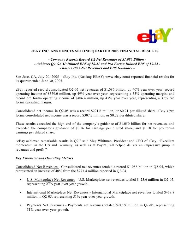eBAY INC. ANNOUNCES SECOND QUARTER 2005 FINANCIAL RESULTS                      - Company Reports Record Q2 Net Revenues of...