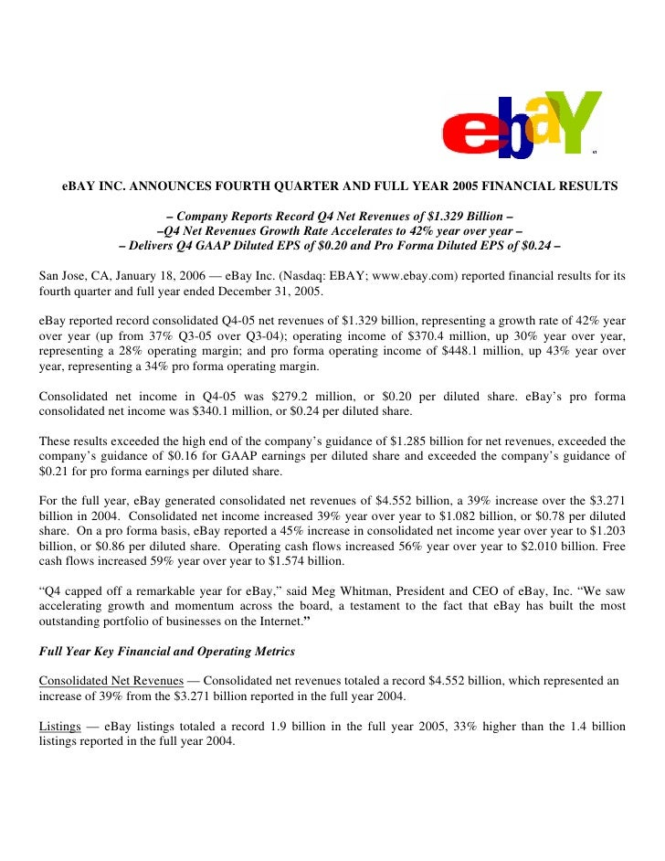 eBAY INC. ANNOUNCES FOURTH QUARTER AND FULL YEAR 2005 FINANCIAL RESULTS                          – Company Reports Record ...