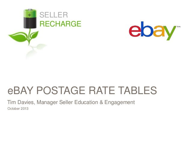 SELLER RECHARGE  eBAY POSTAGE RATE TABLES Tim Davies, Manager Seller Education & Engagement October 2013