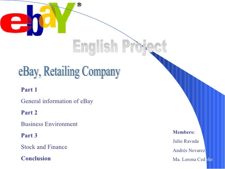 English Project eBay, Retailing Company Part 1 General information of eBay  Part 2 Business Environment Part 3 Stock and F...