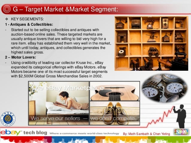 G – Target Market &Market Segment:  KEY SEGEMENTS: 1 - Antiques & Collectibles: - Started out to be selling collectibles ...