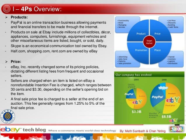 I – 4Ps Overview:  Products: - PayPal is an online transaction business allowing payments and financial transfers to be m...