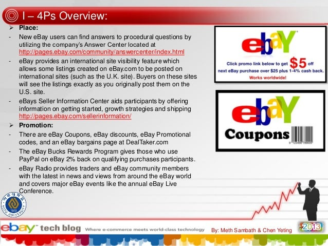 """I – 4Ps Overview:  Place: - New eBay users can find answers to procedural questions by utilizing the company""""s Answer Cen..."""