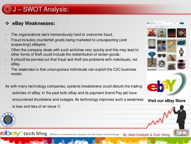 J – SWOT Analysis:  eBay Weaknesses: -  -  The organizations work tremendously hard to overcome fraud. Fraud includes cou...