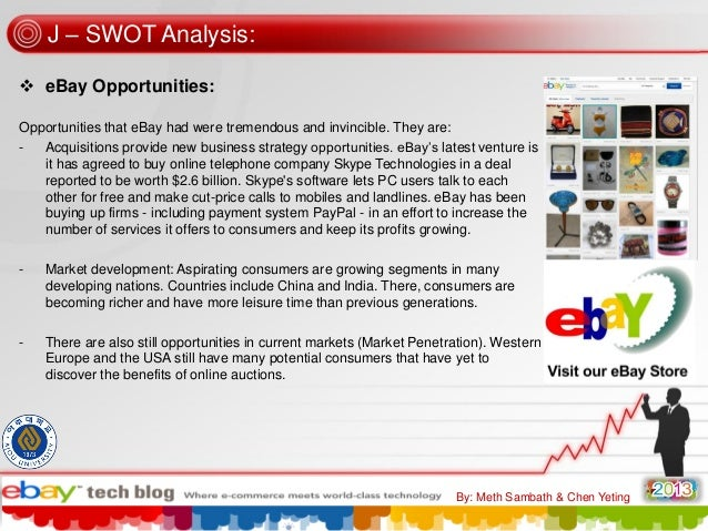 a swot analysis of ebay an online retailer company Walmart swot analysis & recommendations small-scale or individual online selling is a threat against the company's retail business ebay inc swot analysis.