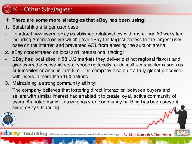 K – Other Strategies:  There are some more strategies that eBay has been using: 1. Establishing a larger user base: - To ...