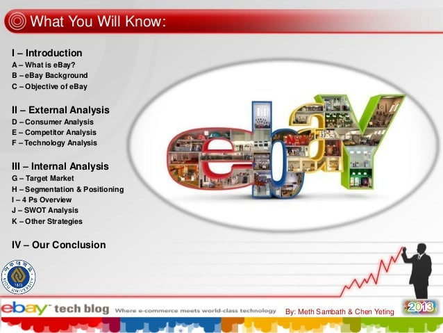 What You Will Know: I – Introduction A – What is eBay? B – eBay Background C – Objective of eBay  II – External Analysis D...