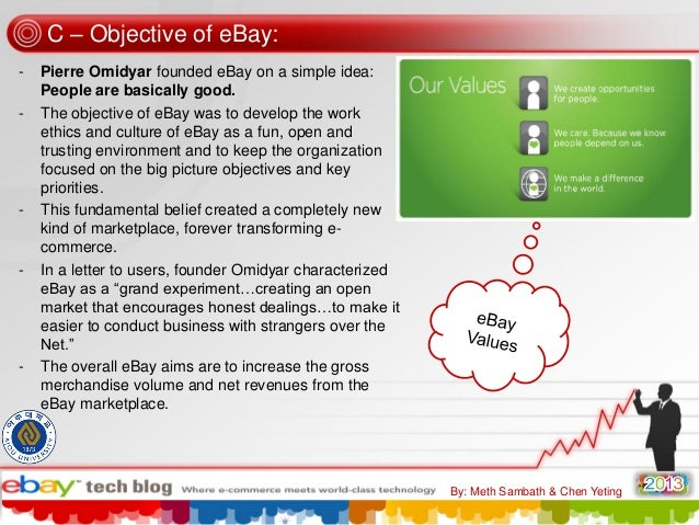 C – Objective of eBay: -  -  -  -  Pierre Omidyar founded eBay on a simple idea: People are basically good. The objective ...
