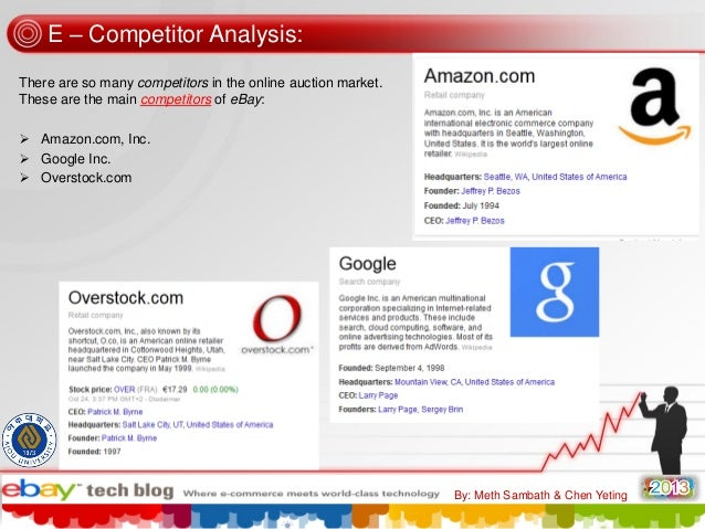 E – Competitor Analysis: There are so many competitors in the online auction market. These are the main competitors of eBa...