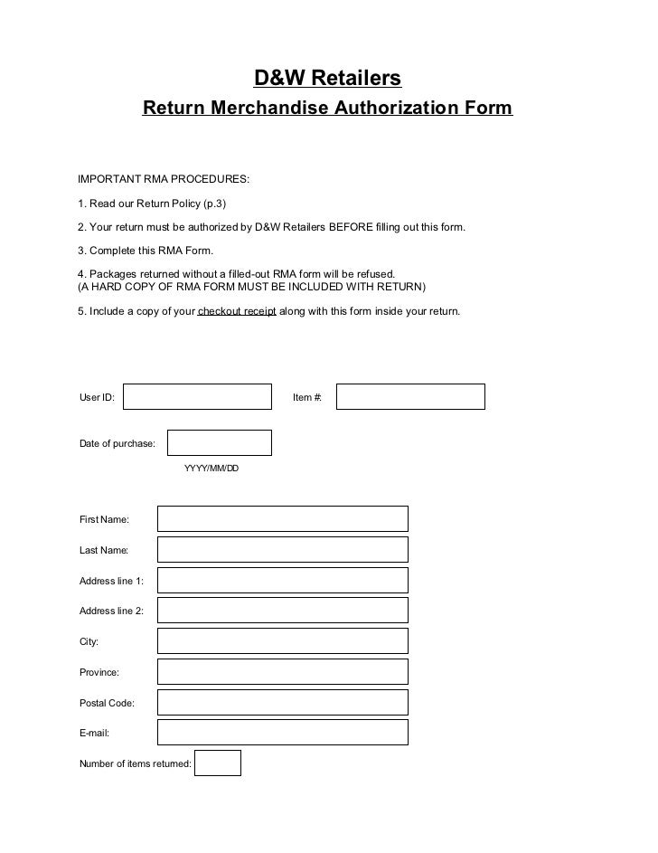 Return merchandise authorization form for Rma request form template