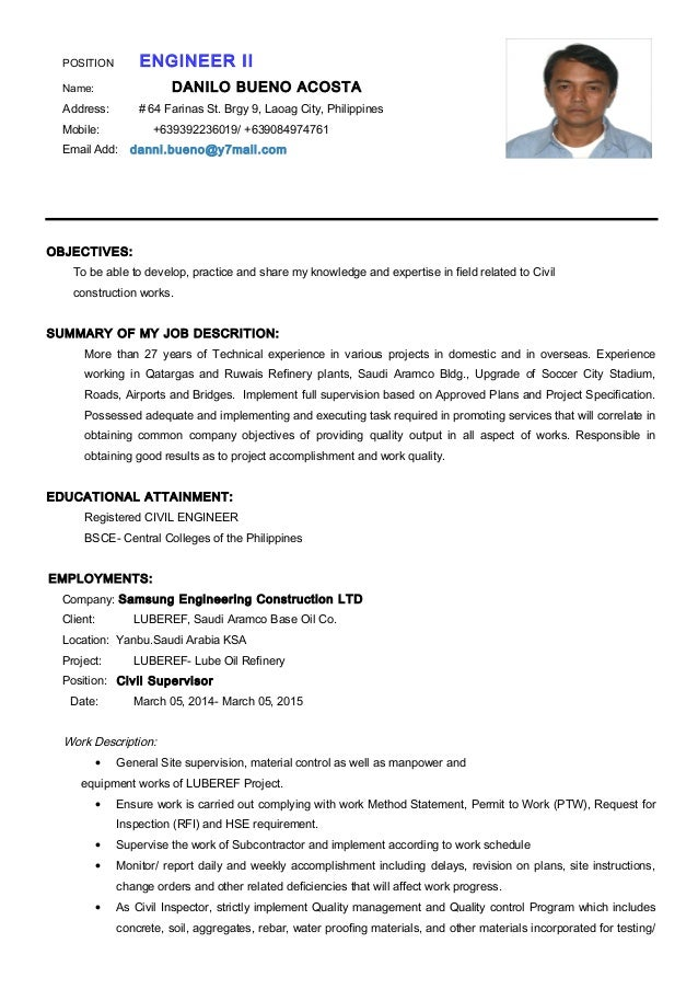 CV-Danilo B  Acosta  Engineer II