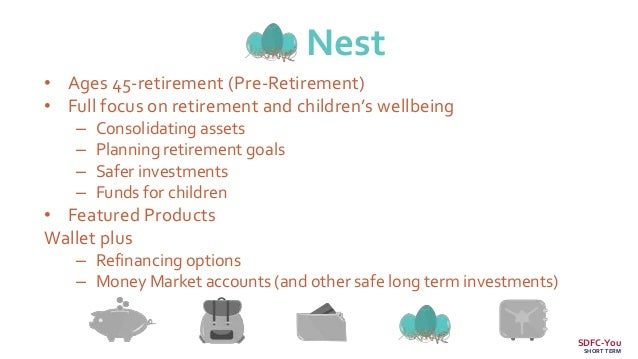 Nest • Ages 45-retirement (Pre-Retirement) • Full focus on retirement and children's wellbeing – Consolidating assets – Pl...