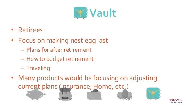Vault • Retirees • Focus on making nest egg last – Plans for after retirement – How to budget retirement – Traveling • Man...