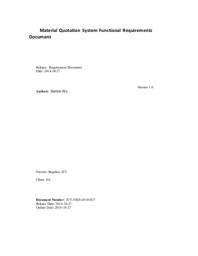 Sample Request Order Tracking Functional Requirements Document V1