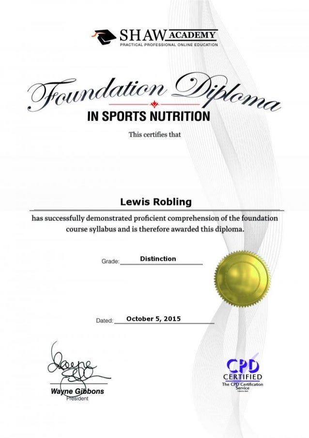The Shaw Academy - Foundation Diploma in Sports Nutrition