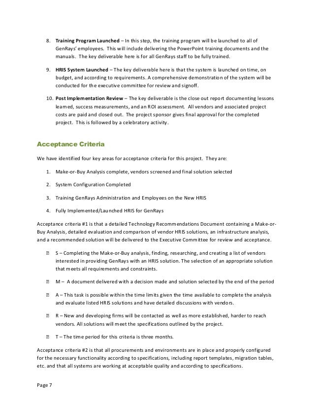mgt2 genrays project charter essay hris Essay on genrays project charter  authorized by 11 references 12 project title genrays' human resource information system (hris) implementation purpose the main purpose of the genrays' hris project continue reading america's failing public schools: charter schools are not the solution.
