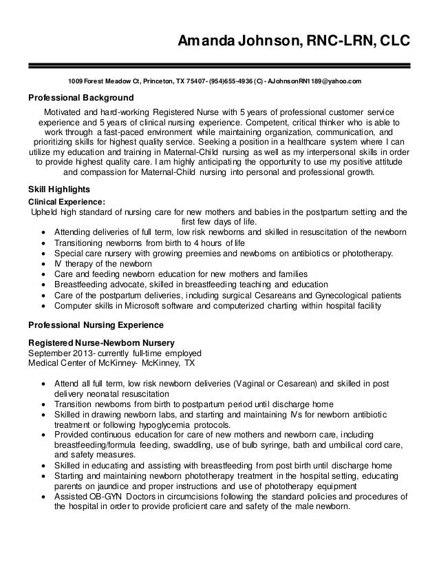 a johnson rn resume 2016