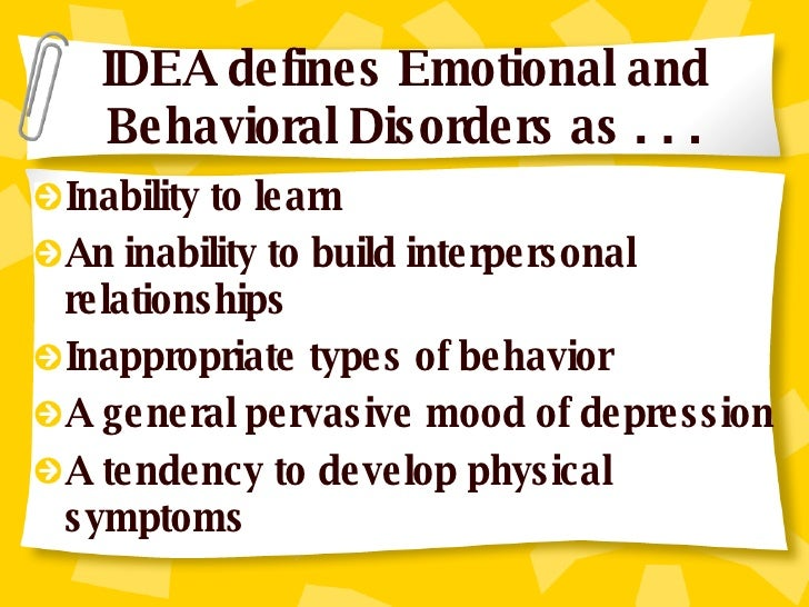 emotional behavioral and physical disabilities 2 essay Mental health is the balanced development of the individual's personality and emotional attitudes which enable him to live short essay on the importance of mental health most important function of education and schools is to secure the mental health of boys and girls physical.