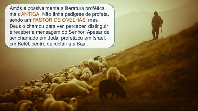 Amós é possivelmente a literatura profética mais ANTIGA. Não tinha pedigree de profeta, sendo um PASTOR DE OVELHAS, mas De...