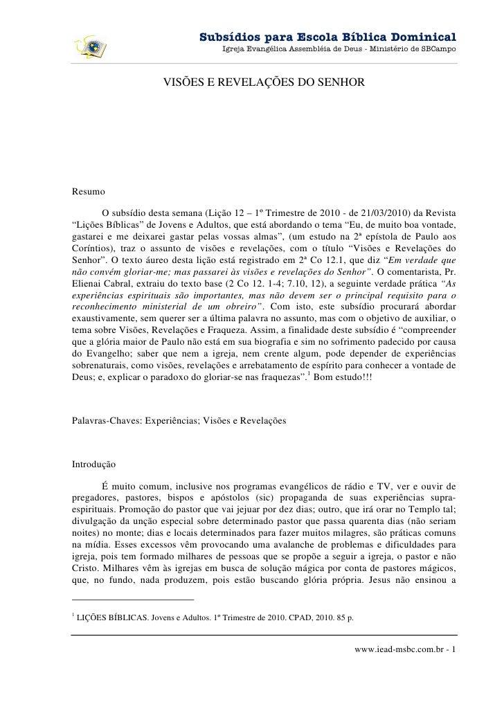 Subsídios para Escola Bíblica Dominical                                           Igreja Evangélica Assembléia de Deus - M...