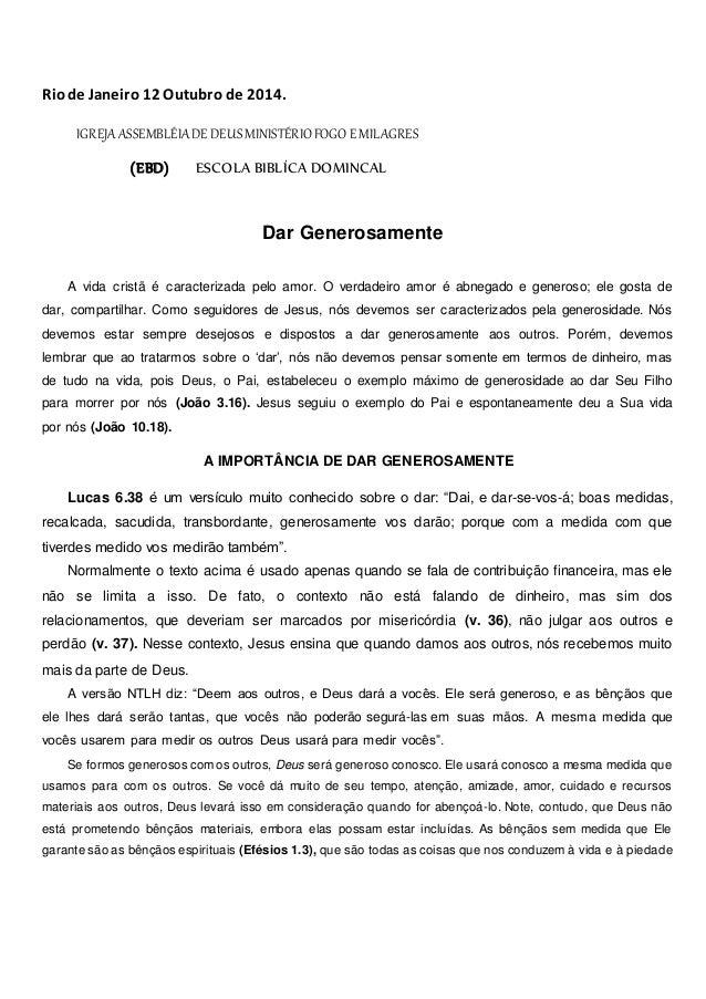 Rio de Janeiro 12 Outubro de 2014.  IGREJA ASSEMBLÉIA DE DEUS MINISTÉRIO FOGO E MILAGRES  (EBD) ESCOLA BIBLÍCA DOMINCAL  D...