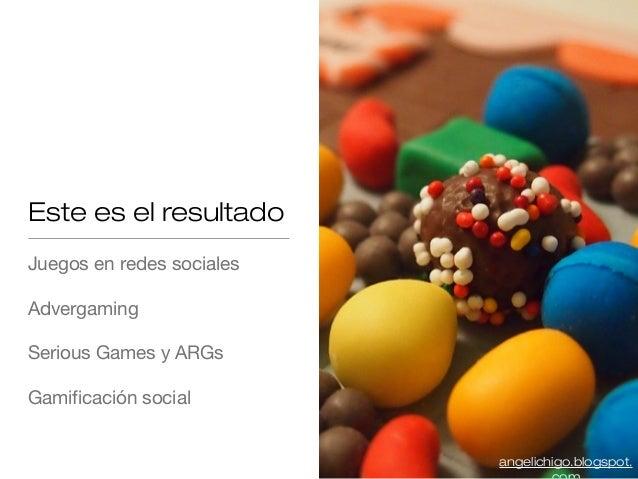 Este es el resultado Juegos en redes sociales Advergaming Serious Games y ARGs Gamificación social angelichigo.blogspot.
