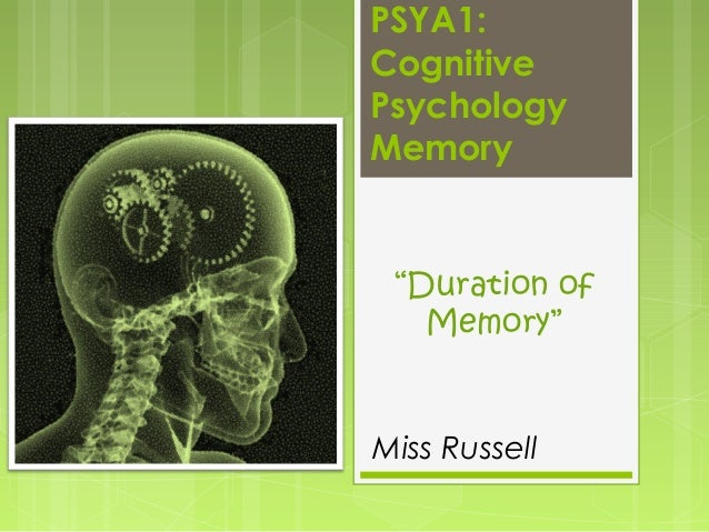 """PSYA1: Cognitive Psychology Memory  """"Duration of Memory""""  Miss Russell"""