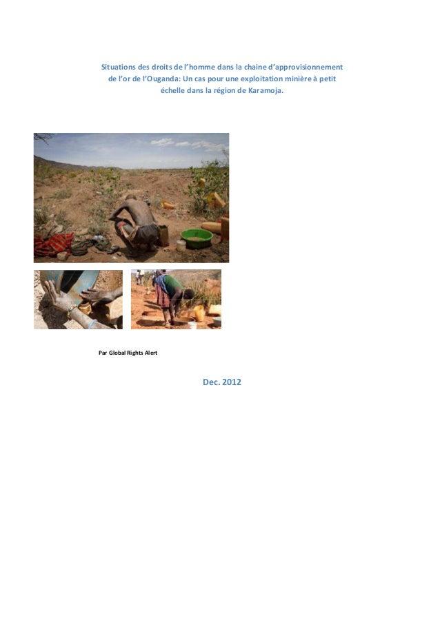 Situations des droits de l'homme dans la chaine d'approvisionnement de l'or de l'Ouganda: Un cas pour une exploitation min...