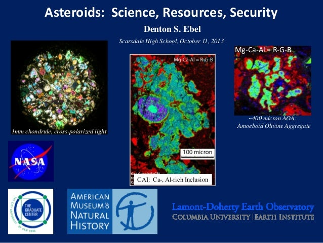 Asteroids: Science, Resources, Security Denton S. Ebel Scarsdale High School, October 11, 2013  Mg-Ca-Al = R-G-B  ~400 mic...