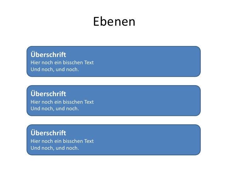Ebenen<br />ÜberschriftHier noch ein bisschen Text<br />Und noch, und noch.<br />ÜberschriftHier noch ein bisschen Text<br...