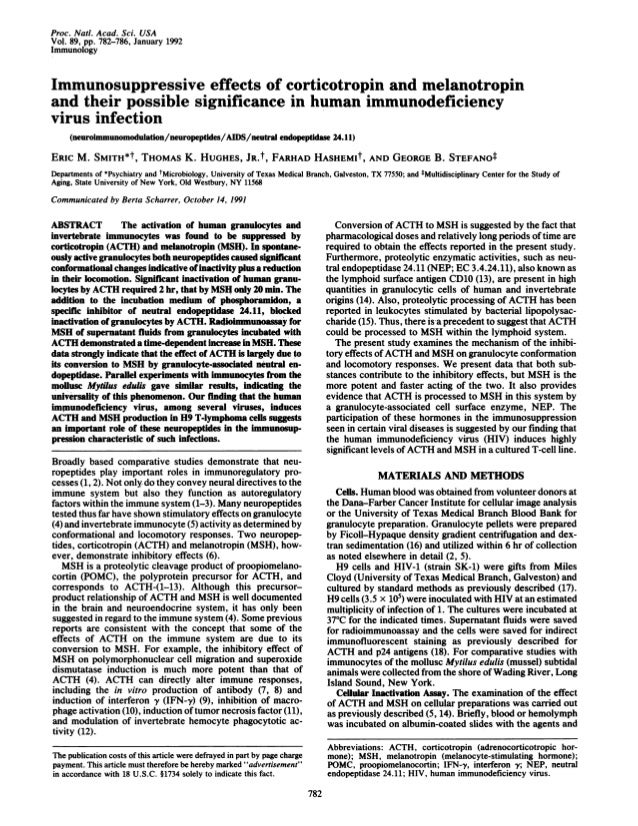 Proc. Nail. Acad. Sci. USA Vol. 89, pp. 782-786, January 1992 Immunology Immunosuppressive effects of corticotropin and me...