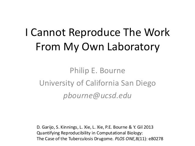 I Cannot Reproduce The Work From My Own Laboratory Philip E. Bourne University of California San Diego pbourne@ucsd.edu  D...