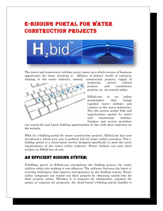 ebidding portal for water construction projects