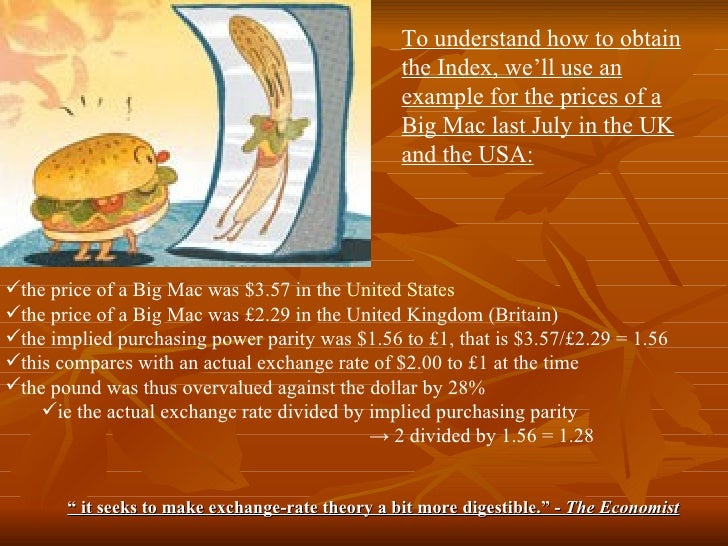 purchasing power parity and the big mac index essay The big mac index is an index created by the economist based on the theory of purchasing power parity (ppp) over the long-term, ppp theory states that currency exchange rates should equal the price of a basket of goods and services in different countries.