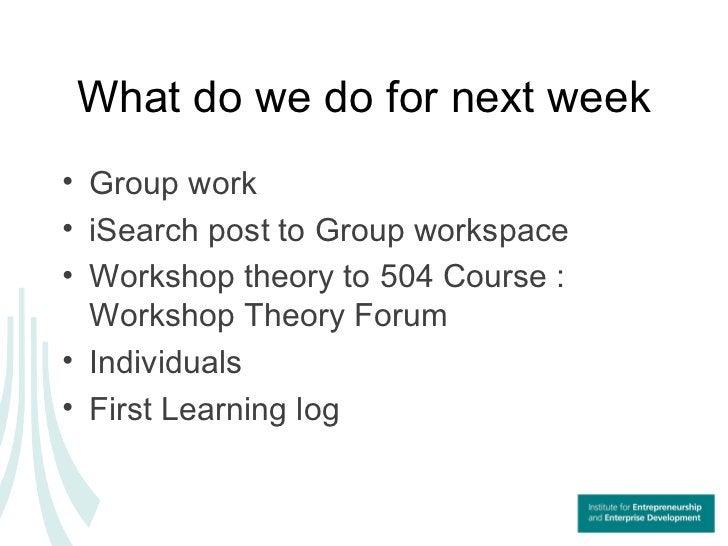 What do we do for next week <ul><li>Group work </li></ul><ul><li>iSearch post to Group workspace  </li></ul><ul><li>Worksh...