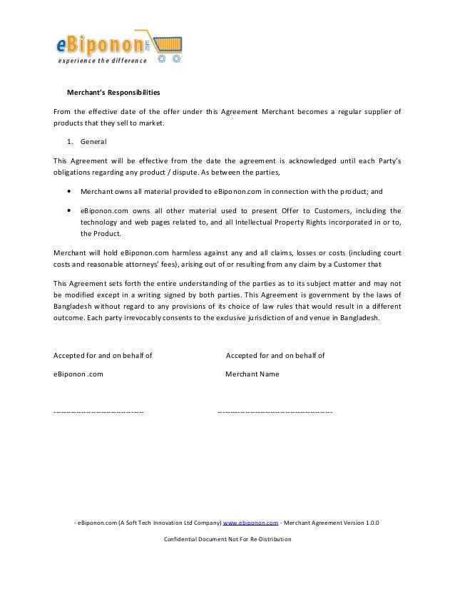 Ebiponon Merchant Agreement