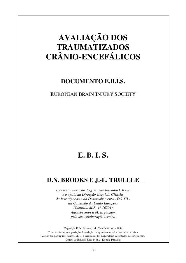 1 AVALIAÇÃO DOS TRAUMATIZADOS CRÂNIO-ENCEFÁLICOS DOCUMENTO E.B.I.S. EUROPEAN BRAIN INJURY SOCIETY E. B. I. S. D.N. BROOKS ...