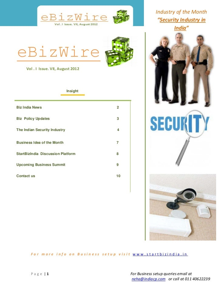 """Industry of the Month                                                            """"Security Industry in                    ..."""