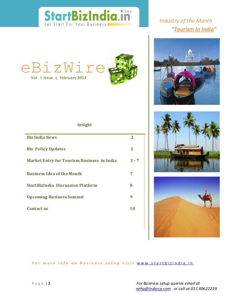 "Industry of the Month                                                                  ""Tourism In India""eBizWire  Vol . I..."