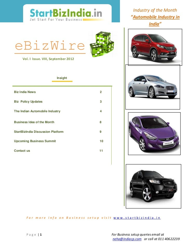 "Industry of the Month                                                          ""Automobile Industry in                    ..."