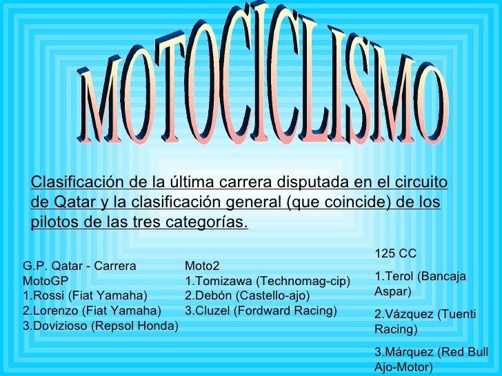 MOTOCICLISMO Clasificación de la última carrera disputada en el circuito de Qatar y la clasificación general (que coincide...