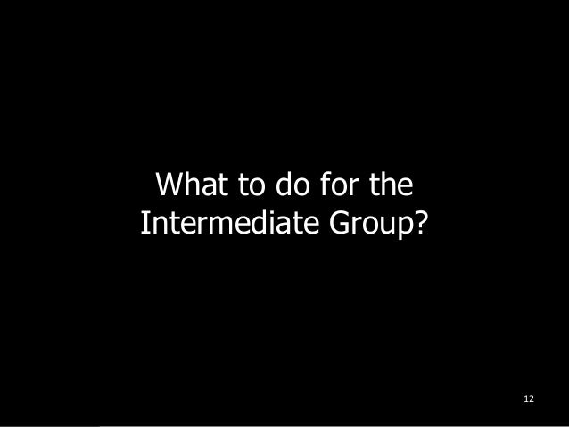 What to do for the Intermediate Group? 12
