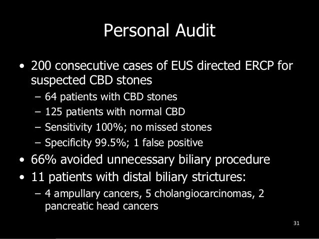 Personal Audit • 200 consecutive cases of EUS directed ERCP for suspected CBD stones – 64 patients with CBD stones – 125 p...