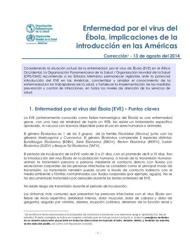- 1 -  Enfermedad por el virus del Ébola, implicaciones de la introducción en las Américas  Corrección1 - 13 de agosto del...