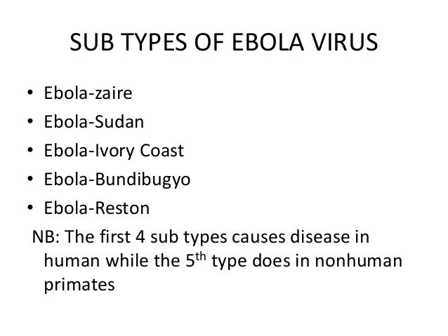 varieties of the ebola virus Filovirus: filovirus, any virus belonging to the family filoviridae the filoviruses, seen in central and east africa, include ebola virus and marburg virus.