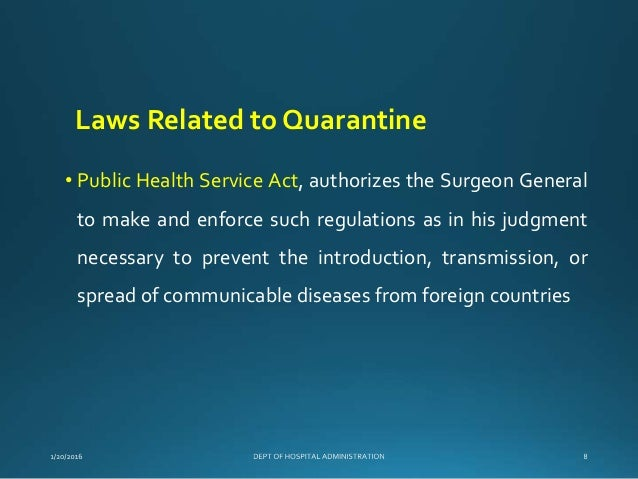 Specific Laws and Regulations Governing the Control of Communicable Diseases