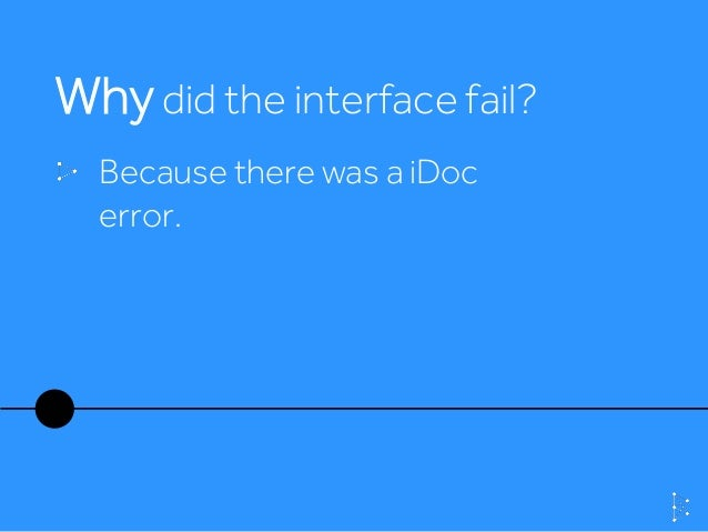 Why did the interface fail? Because there was a iDoc error.
