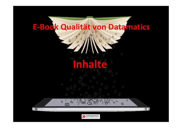 E-Book Qualität von Datamatics          Inhalte