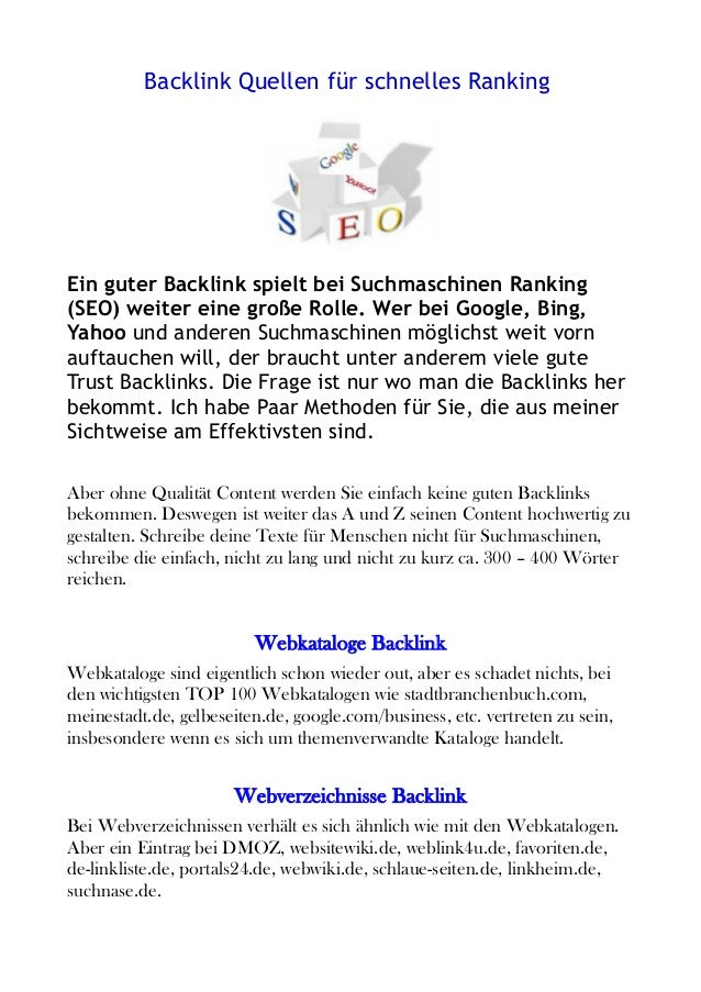 Backlink Quellen für schnelles Ranking Ein guter Backlink spielt bei Suchmaschinen Ranking (SEO) weiter eine große Rolle. ...